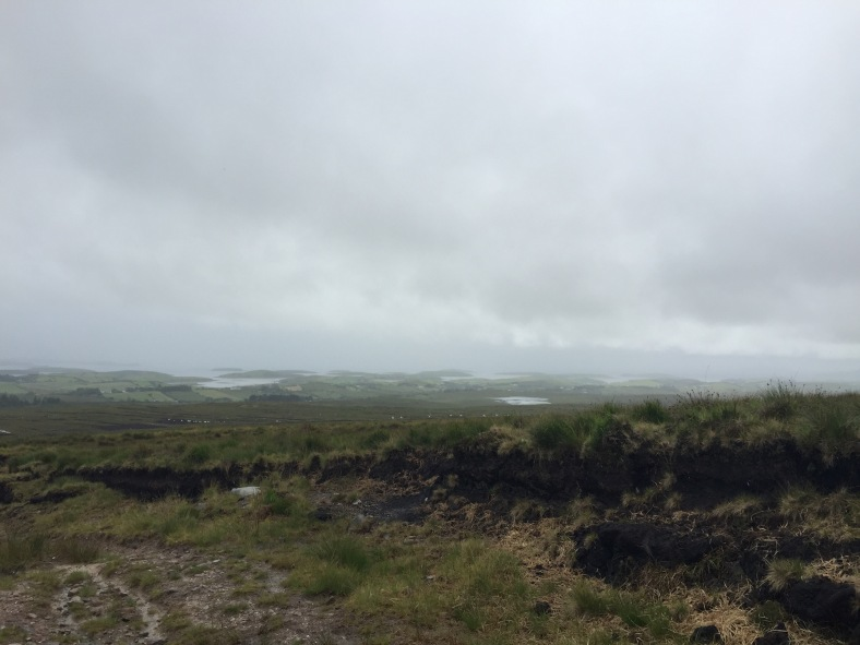 View of Clew Bay from Ben Gorm in the rain