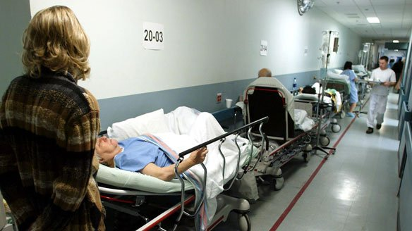 patients on trolleys